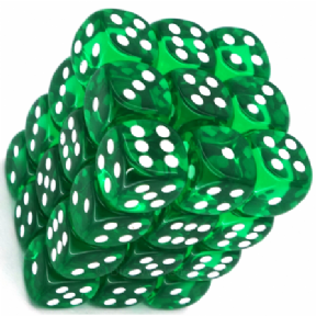 Green & White Translucent 12mm D6 Dice Block